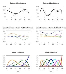 Linear combinations of basis functions (in this case, B-splines) can produce non-linear and complex patterns. You can see that a better approximation is achieved with more basis functions, but some of the finer-scale changes are difficult to recover with sparse data. © Frances E. Buderman