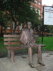 Alan Turing memorial statue in Sackville Park, Manchester, UK. ©Lmno