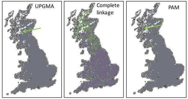 The regionalization results obtained by applying the Kreft and Jetz method to the British butterfly data by applying three different clustering algorithms to the Simpson dissimilarity matrix among 10 x 10 km2 squares (Unweighted Pair Group Method with Arithmetic Mean, UPGMA; Complete linkage and Partitioning Around Medoids, PAM).