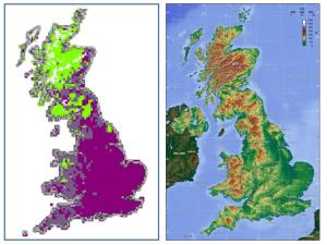 Our solution for the regionalization of British butterflies and a comparison with a physical map of Britain