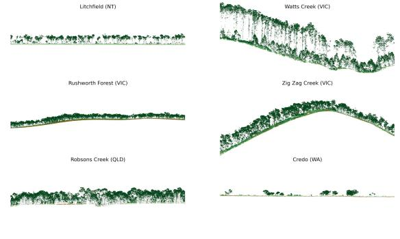 Examples of the forest structure and topography derived from ALS point clouds. These examples are taken from TERN data captured at 6 sites across Australia.