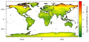 Projected changes in annual average temperature between 1971-2000 and 2070-2099