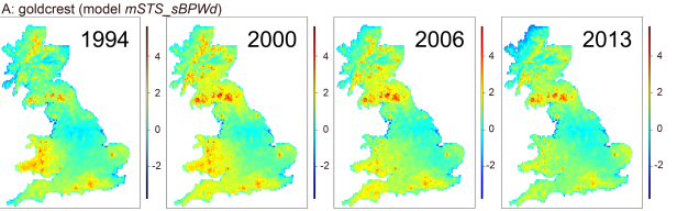 Relative abundance predictions for goldcrest for selected years built from the relationships we discovered with our new methods. (Predictions were made for 1-km squares on the log scale. Hence, a log-abundance of, e.g., -2 refers to exp(-2) = 0.135 goldcrests per 1-km square.)