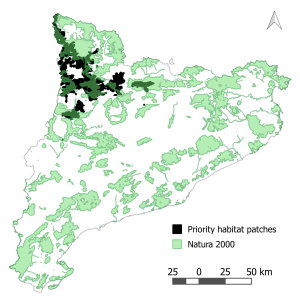 Priority areas to be protected to maintain habitat connectivity for the bearded and Egyptian vulture in Catalonia. Natura 2000 sites are also shown.