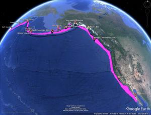 Historic range (pink shading) and 1911 remnant populations (red icons) of sea otters.