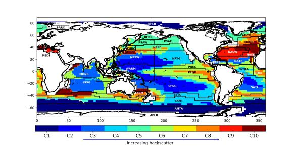 10 mesopelagic classes are shown for the open-ocean, echo intensity (a proxy for biomass) increases from blue to red. Coastal zones excluded. Longhurst provinces overlaid. Shapefile here. Proud et al. (2017)