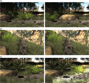 Representative frames from animations to examine the effect of (a) different backgrounds, (b) signaller–plant distances and (c) different light environments