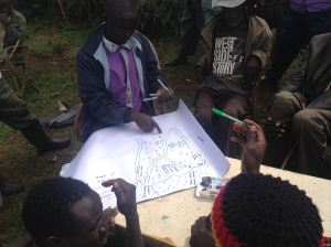 A focus group discussion with local farmers in Trans Mara district, Kenya, carried out by Tobias O. Nyumba (co-author)