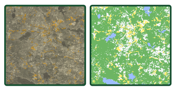 The Swedish Economic map was created over the whole of Sweden during the mid-20th century. Each map is 5 × 5 km in size, based on an aerial photograph with arable land coloured in yellow. On the left is an original map, with the digitized version on the right.