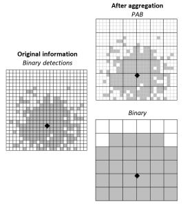Spatial aggregation of detections using partial aggregation of binary (PAB) detections (top right) and traditional aggregation of binary detections (bottom right).