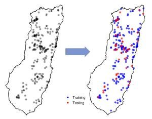 تقسیم تصادفی دادههای حضور گونه به نقاط آزمایشی و آموزشی