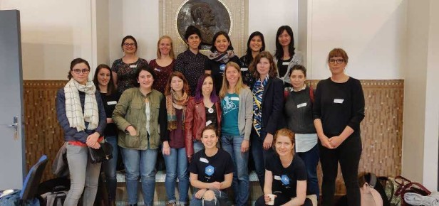 A group picture of R-Ladies at the satRday event in Paris, February 2019.