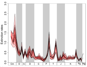 Time series of extinctions with different methodological pathways.