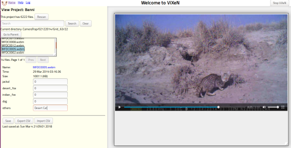 ViXeN used for a project involving a camera trap video