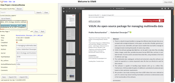 ViXeN used for PDFs as part of a literature review
