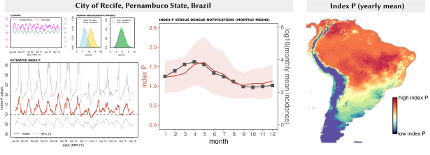 Example of index P estimation for the city of Recife and its comparison to epidemiological data. To the right, a map of South America with mean yearly index P.