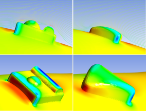 Examples of hydrodynamic flow and pressure visualisation of two different tag designs using computational fluid dynamics. ©Hannah Bowen, Simon Withers and David Naumann